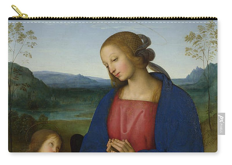 Pietro Perugino Carry-all Pouch featuring the painting The Virgin And Child With An Angel by Pietro Perugino