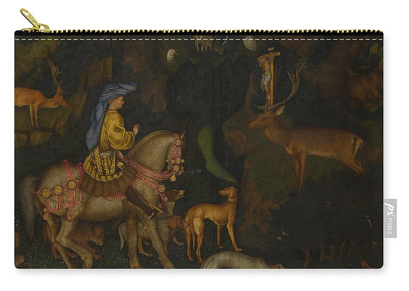 Pisanello Carry-all Pouch featuring the painting The Vision Of Saint Eustace by Pisanello
