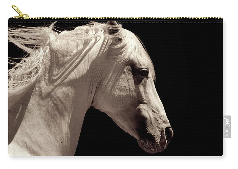 Horse Carry-all Pouch featuring the photograph White Stallion Horse Andalusian by 66north