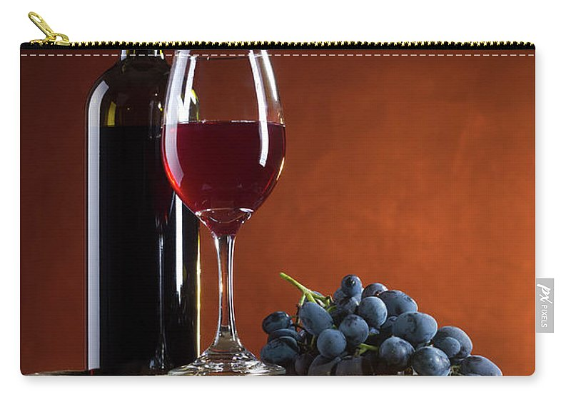 Rose Wine Carry-all Pouch featuring the photograph White Wine Composition by Valentinrussanov