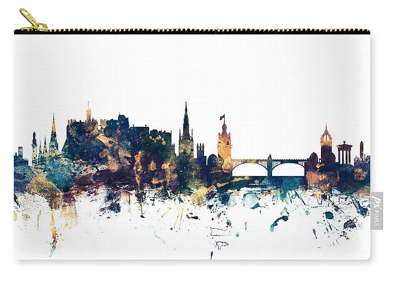 Edinburgh Carry-all Pouch featuring the digital art Edinburgh Scotland Skyline by Michael Tompsett