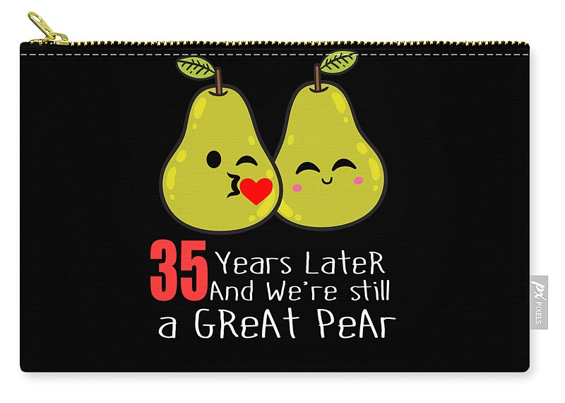 Birthday-gag-gift Carry-all Pouch featuring the digital art 35th Wedding Anniversary Funny Pear Couple Gift by Carlos Ocon