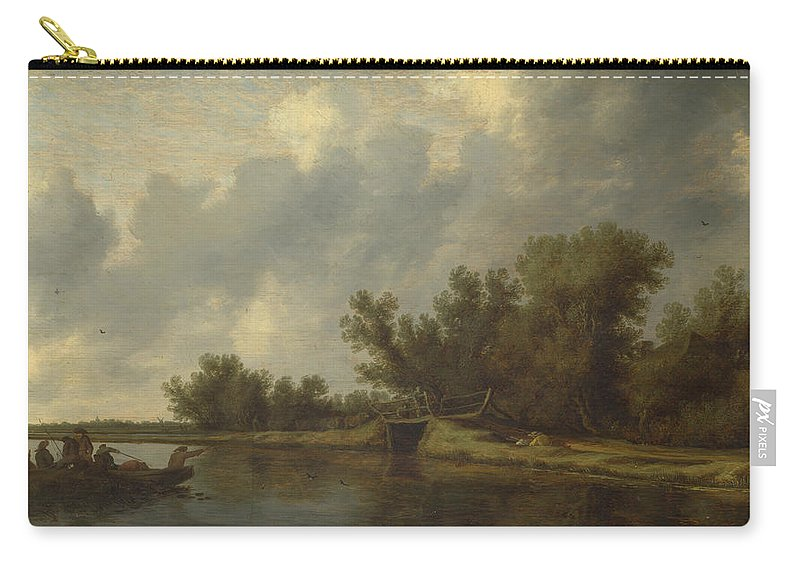 Salomon Van Ruysdael Carry-all Pouch featuring the painting A River Landscape With Fishermen by Salomon van Ruysdael