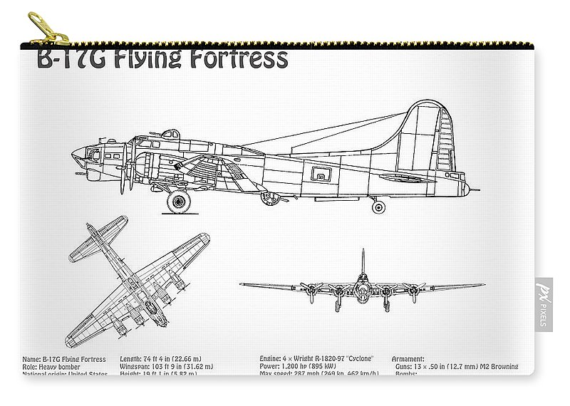 B-17 Flying Fortress - Airplane Blueprint  Drawing Plans For The Wwii  Boeing B-17 Flying Fortress Carry-all Pouch