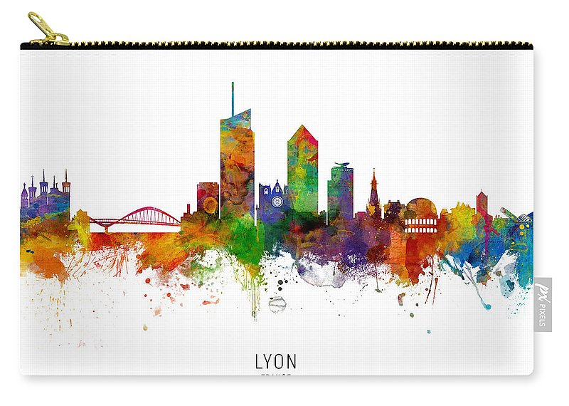 Lyon Carry-all Pouch featuring the digital art Lyon France Skyline by Michael Tompsett
