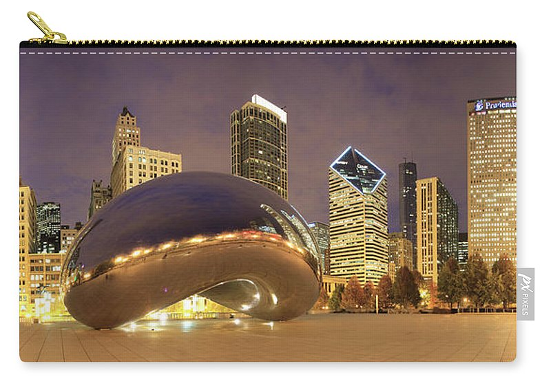 Panoramic Carry-all Pouch featuring the photograph Millennium Park, Chicago, Illinois,usa by Travelpix Ltd