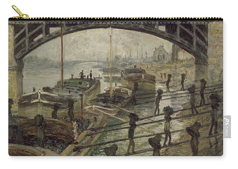 Claude Monet Carry-all Pouch featuring the painting The Coalmen by Claude Monet
