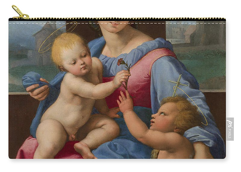 Raphael Carry-all Pouch featuring the painting The Garvagh Madonna by Raphael