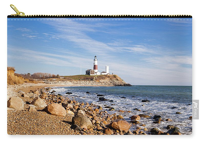 Headland Carry-all Pouch featuring the photograph Lighthouse At Montauk Point, Long by Alex Potemkin