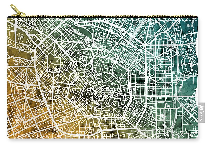 Milan Carry-all Pouch featuring the digital art Milan Italy City Map by Michael Tompsett