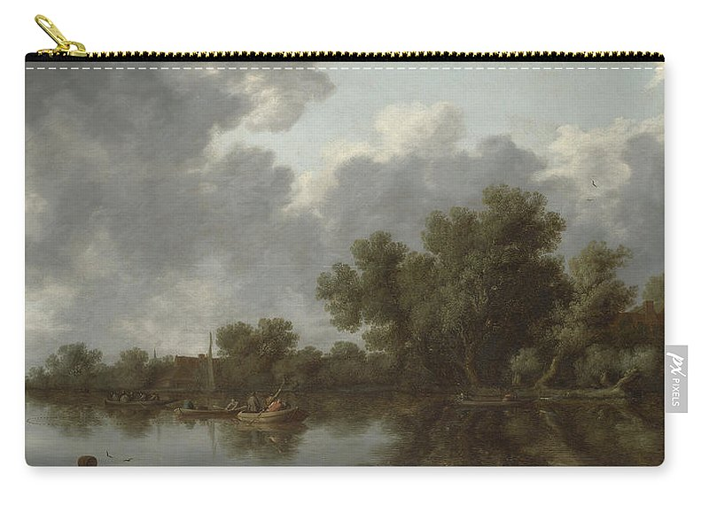 Salomon Van Ruysdael Carry-all Pouch featuring the painting River Scene by Salomon van Ruysdael