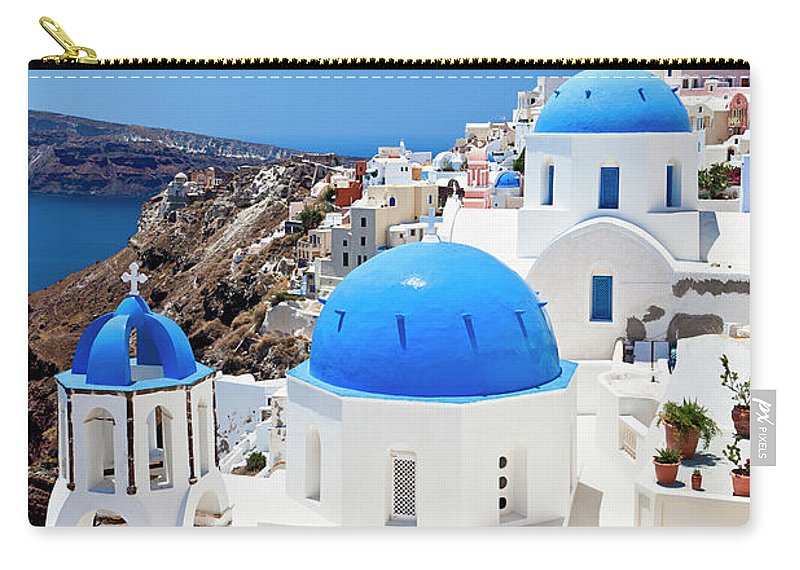 Saint George Church Carry-all Pouch featuring the photograph Santorini Famous Churches by Mbbirdy