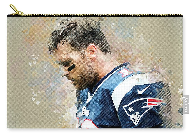 Tom Brady Carry-all Pouch featuring the digital art Tom Brady.new England Patriots. by Nadezhda Zhuravleva