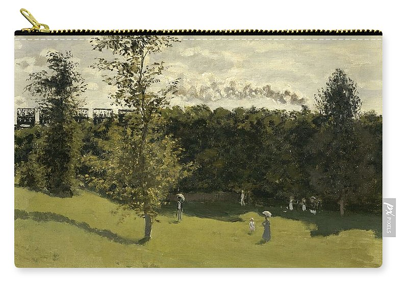 Claude Monet Carry-all Pouch featuring the painting Train In The Countryside by Claude Monet