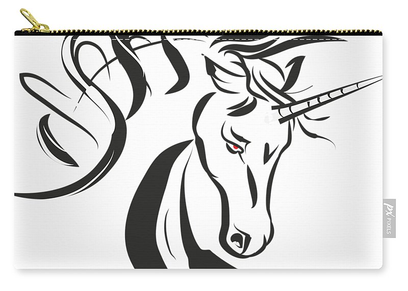 Unicorn Carry-all Pouch featuring the drawing Unicorn by Martina