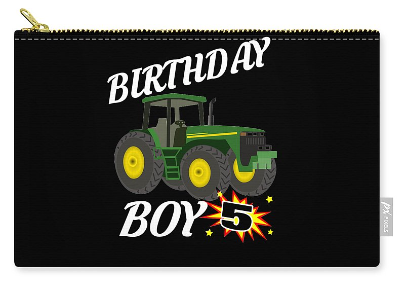 Birthday-boy Carry-all Pouch featuring the digital art 5 Years Old Birthday Design Green Tractor Gifdesign by Funny4You
