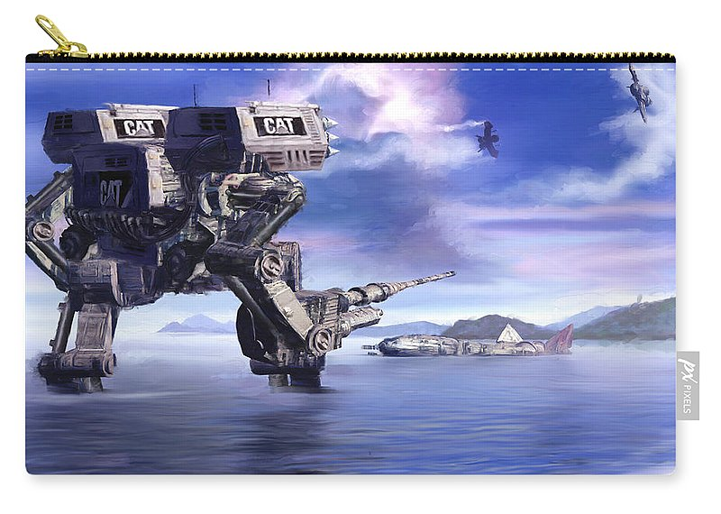 Science Fiction Carry-all Pouch featuring the mixed media 501st Mech Defender by Curtiss Shaffer