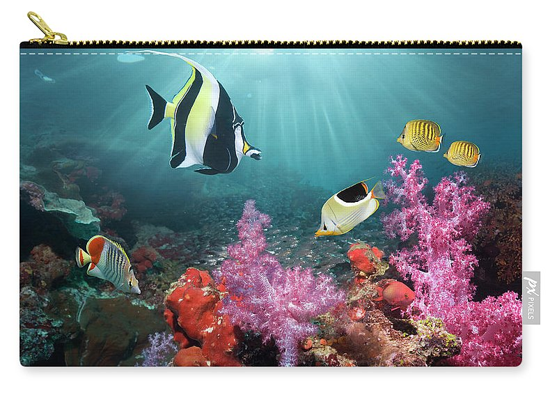 Tranquility Carry-all Pouch featuring the photograph Coral Reef Scenery by Georgette Douwma