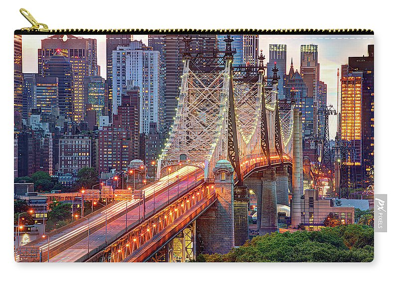 Architectural Column Carry-all Pouch featuring the photograph 59th Street Bridge by Tony Shi Photography