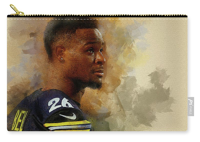 Leveon Bell Carry-all Pouch featuring the digital art Le'veon Bell.pittsburgh Steelers. by Nadezhda Zhuravleva