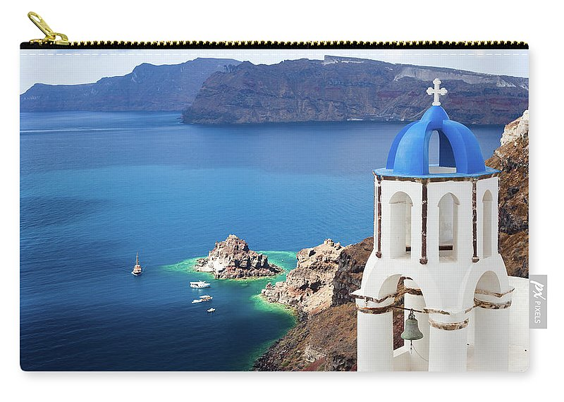 Greek Culture Carry-all Pouch featuring the photograph Santorini, Greece by Traveler1116