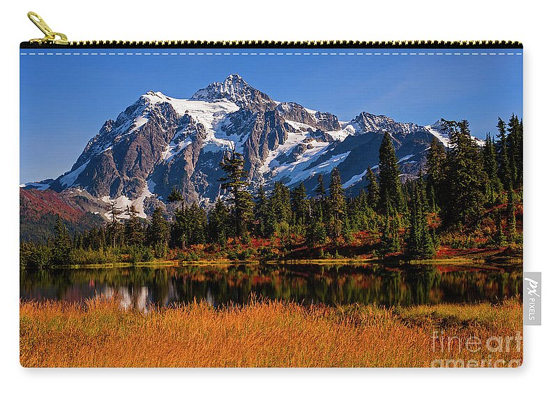 Cascade Range Carry-all Pouch featuring the photograph Autumn Colors With Mount Shuksan by Jim Corwin