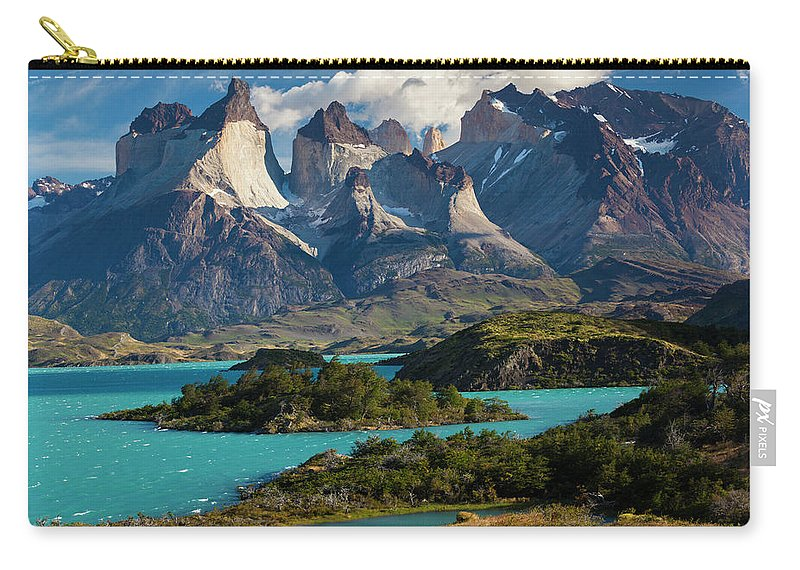 Scenics Carry-all Pouch featuring the photograph Chile, Torres Del Paine National Park by Walter Bibikow
