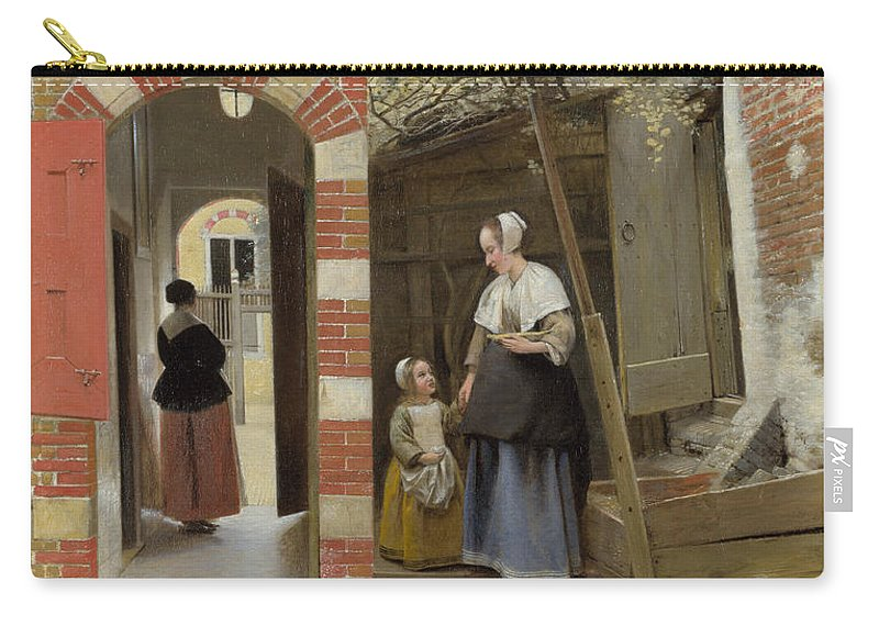 Pieter De Hooch Carry-all Pouch featuring the painting The Courtyard Of A House In Delft by Pieter de Hooch