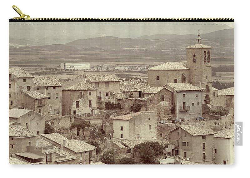 Gallipienzo Carry-all Pouch featuring the photograph Beautiful Medieval Spanish Village In Sepia Tone by Vicen Photography