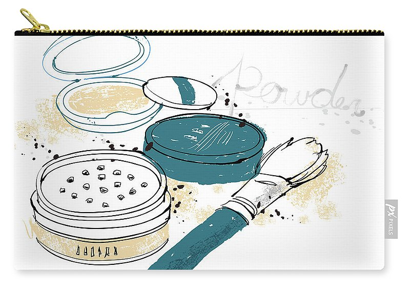 White Background Carry-all Pouch featuring the digital art Cosmetics by Eastnine Inc.