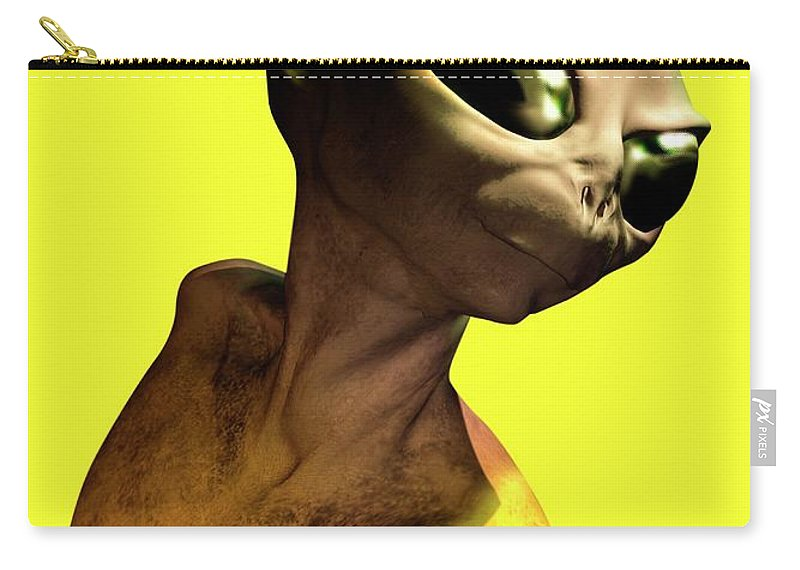 Looking Over Shoulder Carry-all Pouch featuring the digital art Alien, Artwork by Victor Habbick Visions