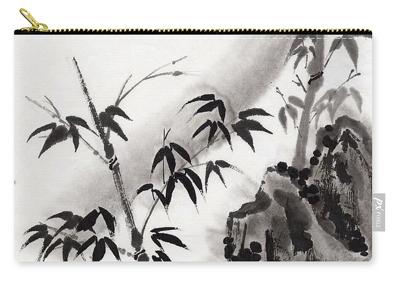 Scenics Carry-all Pouch featuring the digital art A Bird And Bamboo Leaves, Ink Painting by Daj