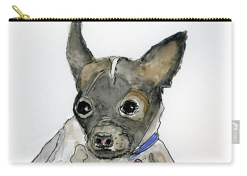 Dog Drawing Carry-all Pouch featuring the digital art A Boston Face by Susan Stone