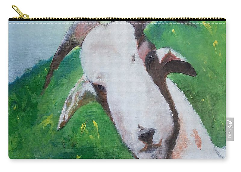 Animal Carry-all Pouch featuring the painting A Goat To Love by Gary Smith