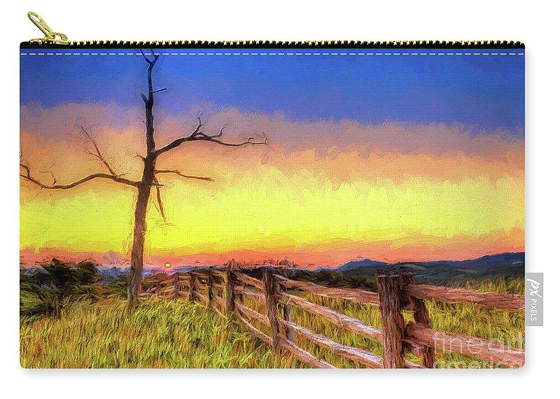 North Carolina Carry-all Pouch featuring the digital art A Gorgeous Blue Ridge Sunrise Ap by Dan Carmichael