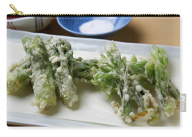 Crockery Carry-all Pouch featuring the photograph A Japanese Dish Of Wild Plants by Ryouchin