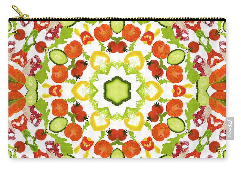 White Background Carry-all Pouch featuring the photograph A Kaleidoscope Image Of Salad Vegetables by Andrew Bret Wallis
