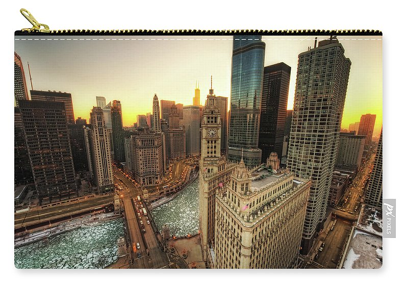 Chicago River Carry-all Pouch featuring the photograph A Long Sunset In The Emerald City by Justin W. Kern