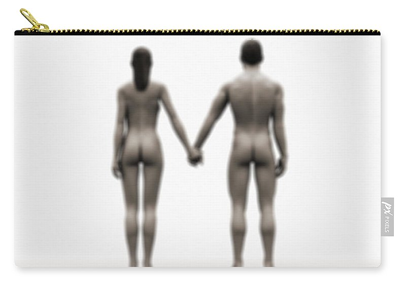 Heterosexual Couple Carry-all Pouch featuring the digital art A Naked Couple Holding Hands by Jorg Greuel