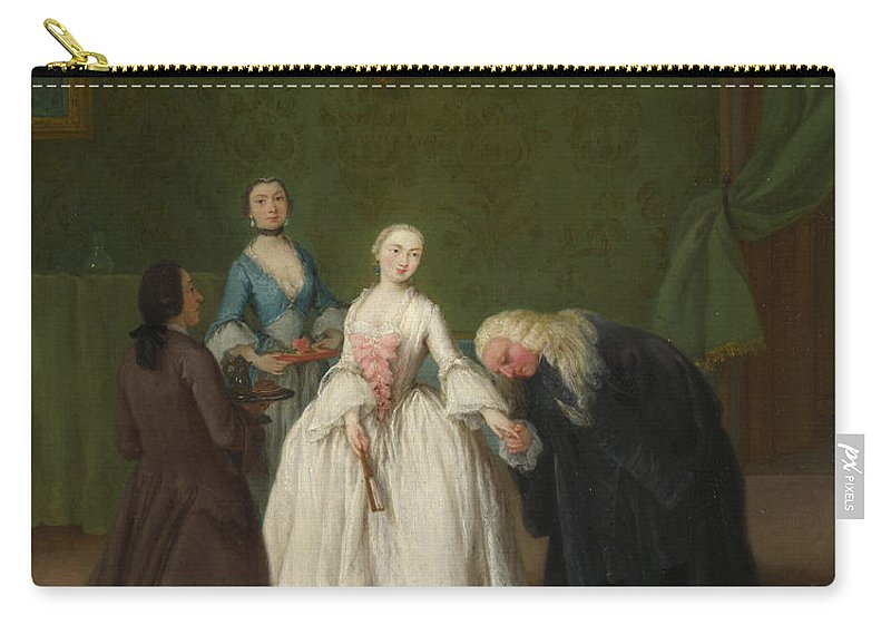 Pietro Longhi Carry-all Pouch featuring the painting A Nobleman Kissing A Lady S Hand by Pietro Longhi