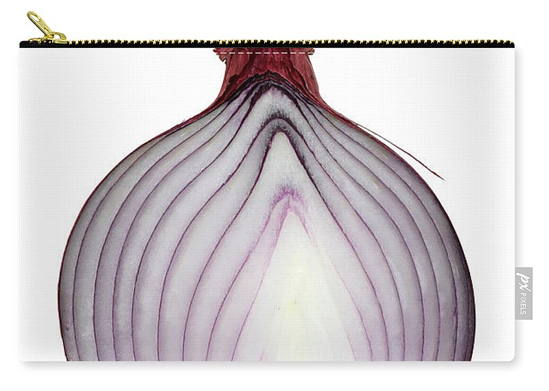 White Background Carry-all Pouch featuring the photograph A Red Onion Cut In Half On White by Suzifoo