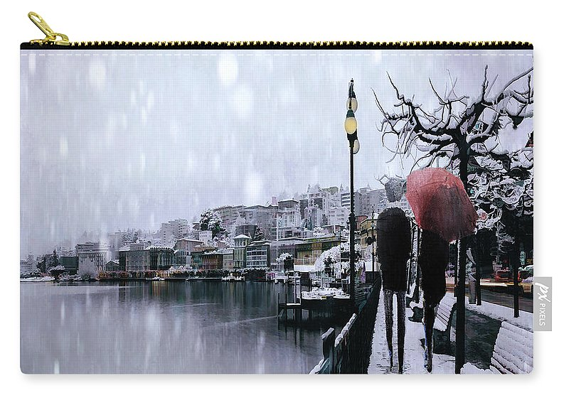 Snow Carry-all Pouch featuring the digital art A Snowy Walk by Tim Palmer