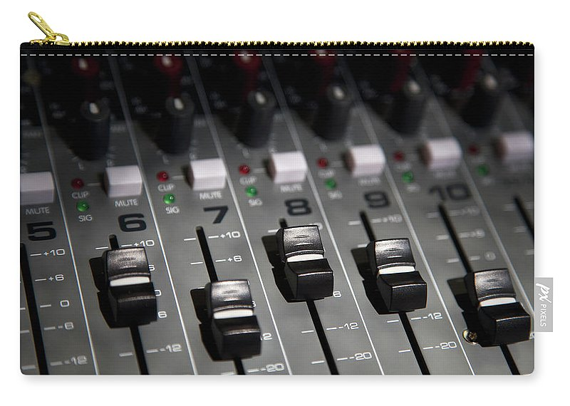 Shadow Carry-all Pouch featuring the photograph A Sound Mixing Board, Close-up, Full by Tobias Titz