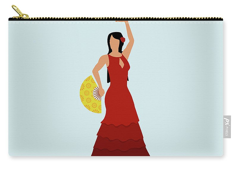 Human Arm Carry-all Pouch featuring the digital art A Stereotypical Spanish Woman Dressed by Ralf Hiemisch