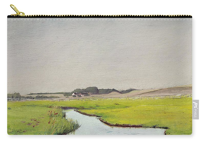 19th Century Art Carry-all Pouch featuring the painting A Stream At Springtime by Laurits Andersen Ring