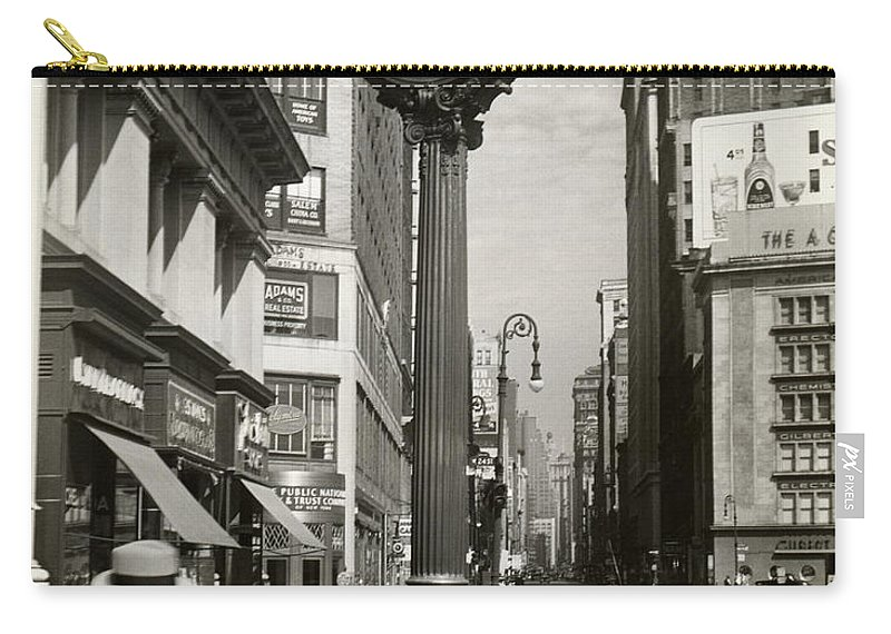 Public Mailbox Carry-all Pouch featuring the photograph A Street Clock On Fifth Ave., Nyc by George Marks