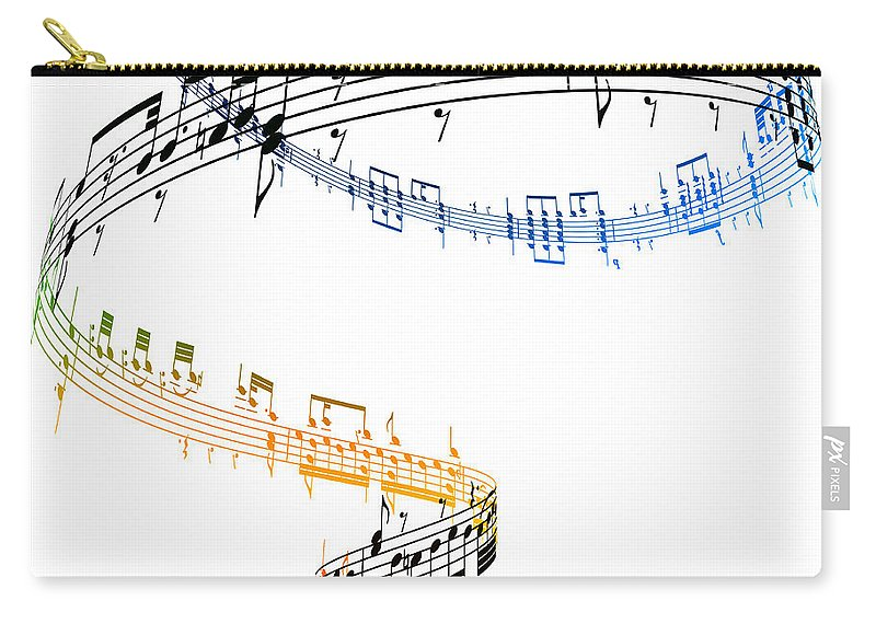Sheet Music Carry-all Pouch featuring the digital art A Swirling Vortex Of Music Against A by Ian Mckinnell