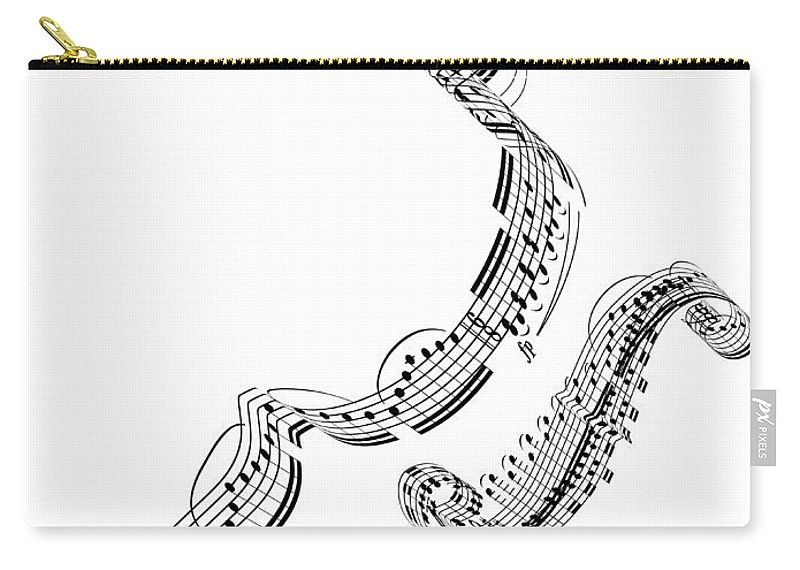 Sheet Music Carry-all Pouch featuring the digital art A Violin Made From Music Notes by Ian Mckinnell