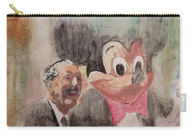 Disney Carry-all Pouch featuring the painting A Walk With Walt by Chris Cutler