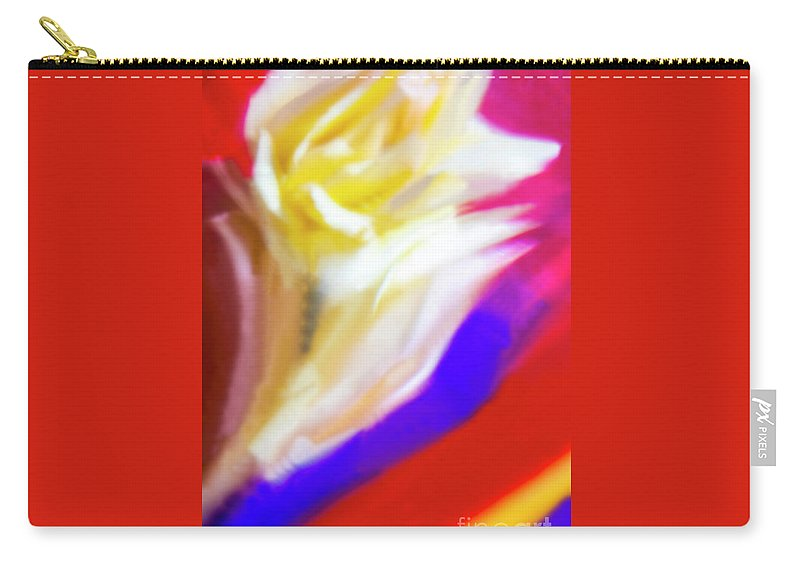 Abstract Carry-all Pouch featuring the photograph A White Rose In An Abstract Style. by Alexander Vinogradov